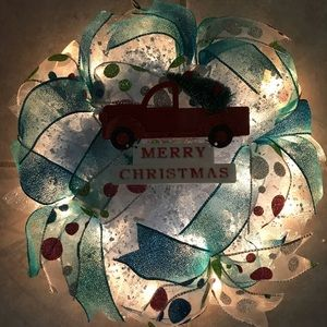 Christmas red truck wreath small